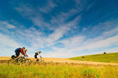 Cyclists relax biking outdoors — ストック写真