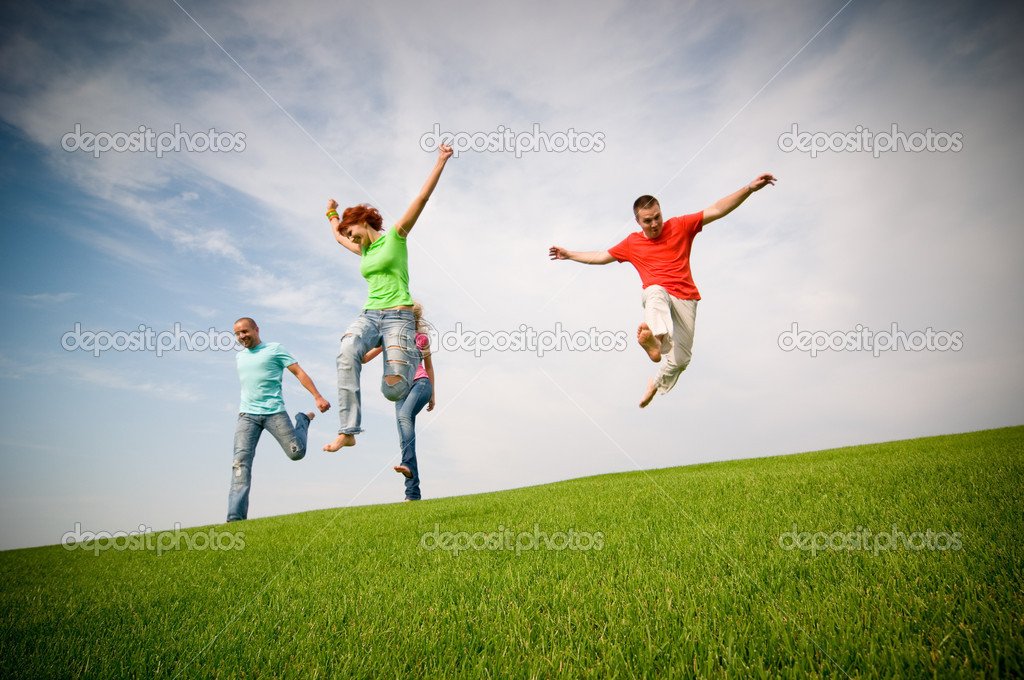 Young friends jumping and running — Stock Photo #1821547