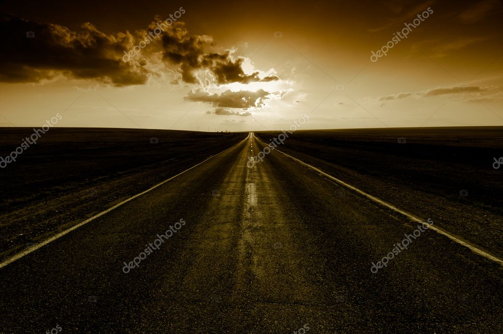 Sunset on road go away — Stock Photo #1824608