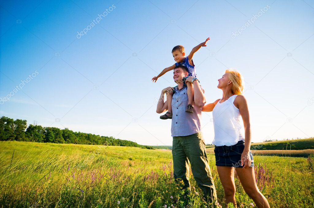 Happy family having fun outdoors  Stock fotografie #1826037