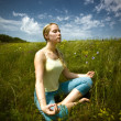 Practicing yoga — Foto Stock