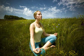 Practicing yoga — Stock Photo