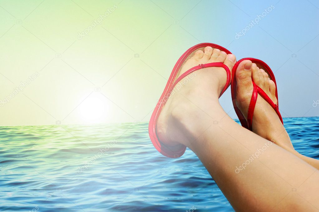 Women legs with red sandals — Stock Photo #2211746