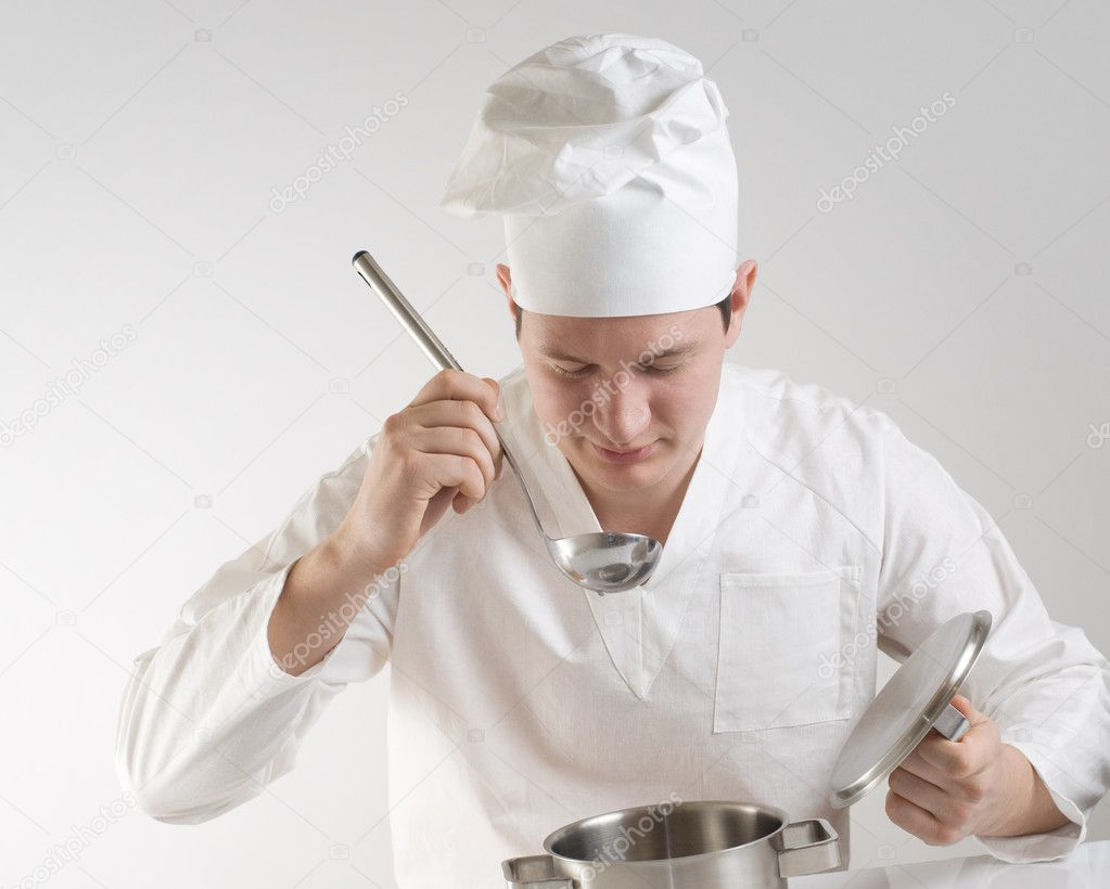 Chef with ladle and pan — Stock Photo #2274409