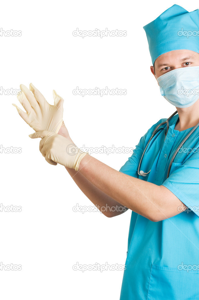 Funny doctor is wearing gloves — Stockfoto #2274452