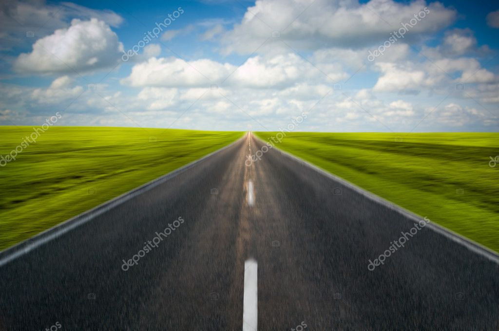 Road in motion with clouds — Stock Photo #2274561
