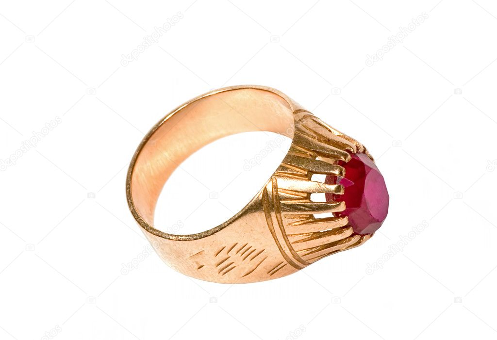 Beautiful gold ring with red ruby on the white background — Stock Photo #1721691