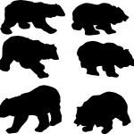 Six bear silhouettes — Stock Vector