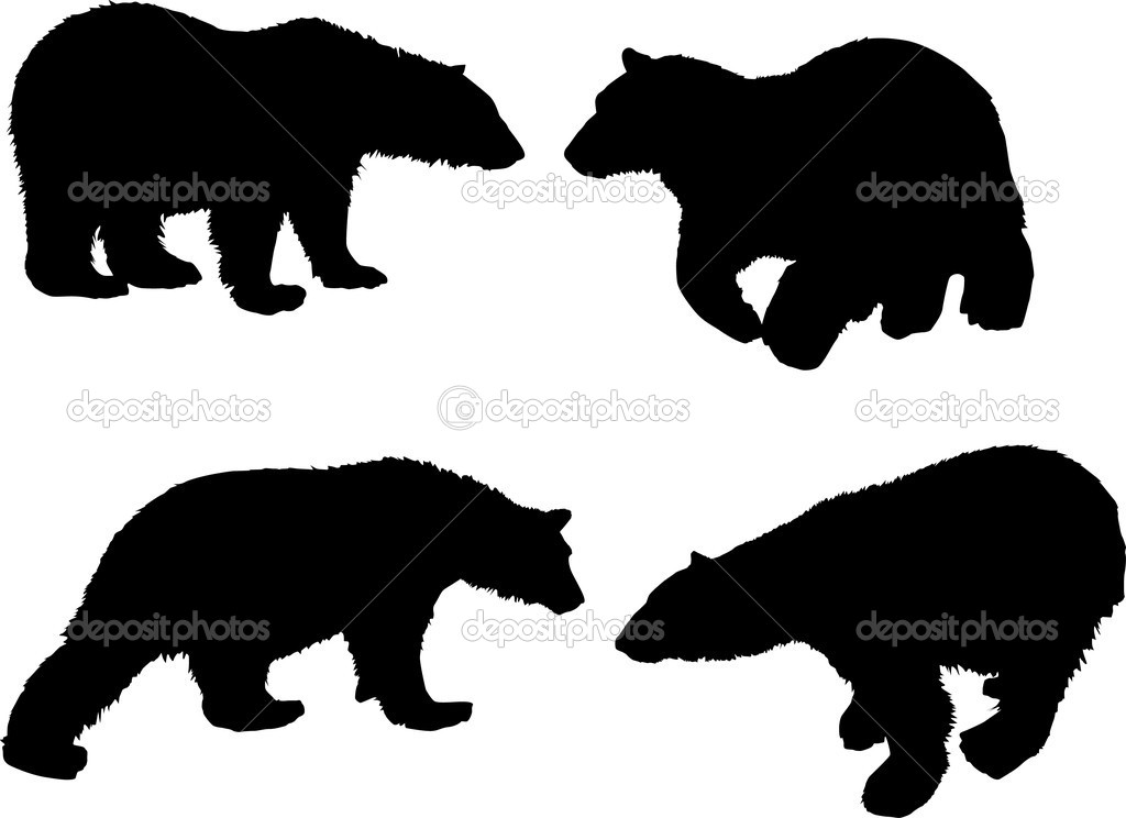 Illustration with bear silhouettes isolated on white background — Stock Vector #1739631