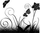 Vlinders, bloemen en gras — Stockvector