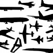Airplanes silhouettes collection — Stock Vector