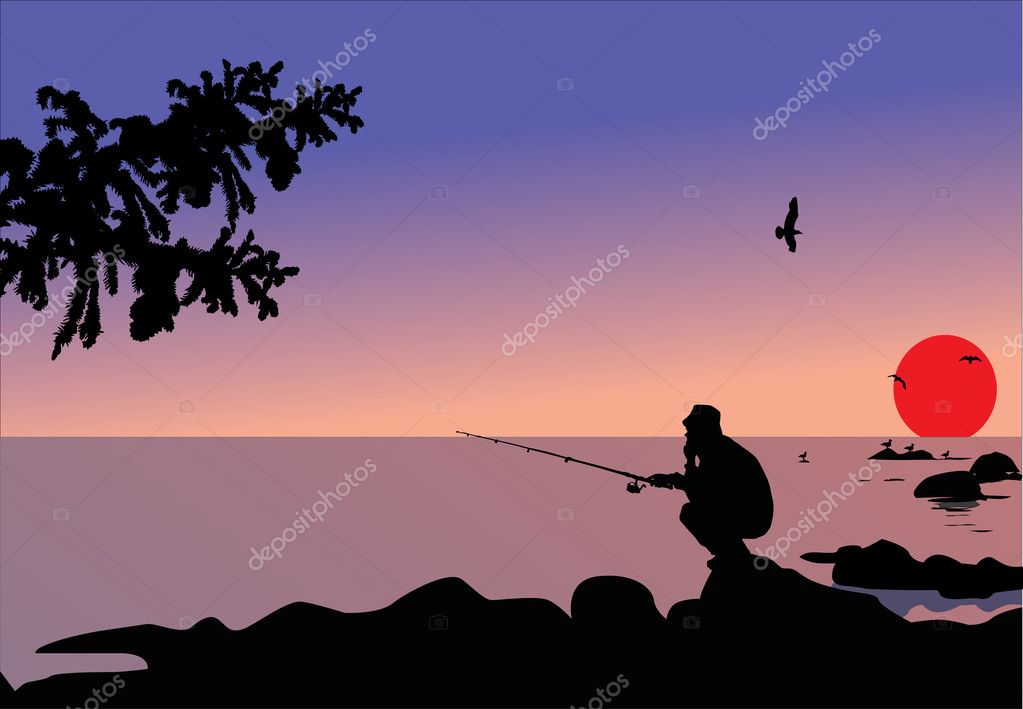 Illustration with fisherman sitting on stone  — Stock Vector #1757529