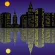Stock Vector: Night town with reflection
