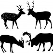 Four deer silhouettes — Stock Vector