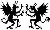 Iki şeytan silhouettes — Stok Vektör