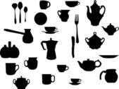 三通和咖啡餐具 — 图库矢量图片