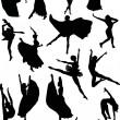 Ballet dancer silhouettes — Stock Vector