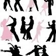 Stock Vector: Dancer silhouette pairs