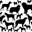 Twenty four dog silhouettes — Vettoriali Stock