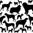Twenty four dog silhouettes — 图库矢量图片