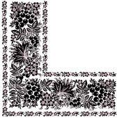 Black floral corner with birds — Stock Vector