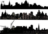 Three cities silhouettes — Stock Vector