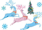 Christmas fantasy deers — Stock Vector