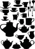 Tea and coffee dishware — 图库矢量图片