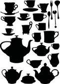 茶及咖啡餐具 — 图库矢量图片