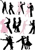 Dancer silhouette pairs — Stock Vector