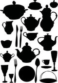 Coffee and tea dishware — 图库矢量图片