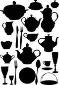 咖啡和茶餐具 — 图库矢量图片
