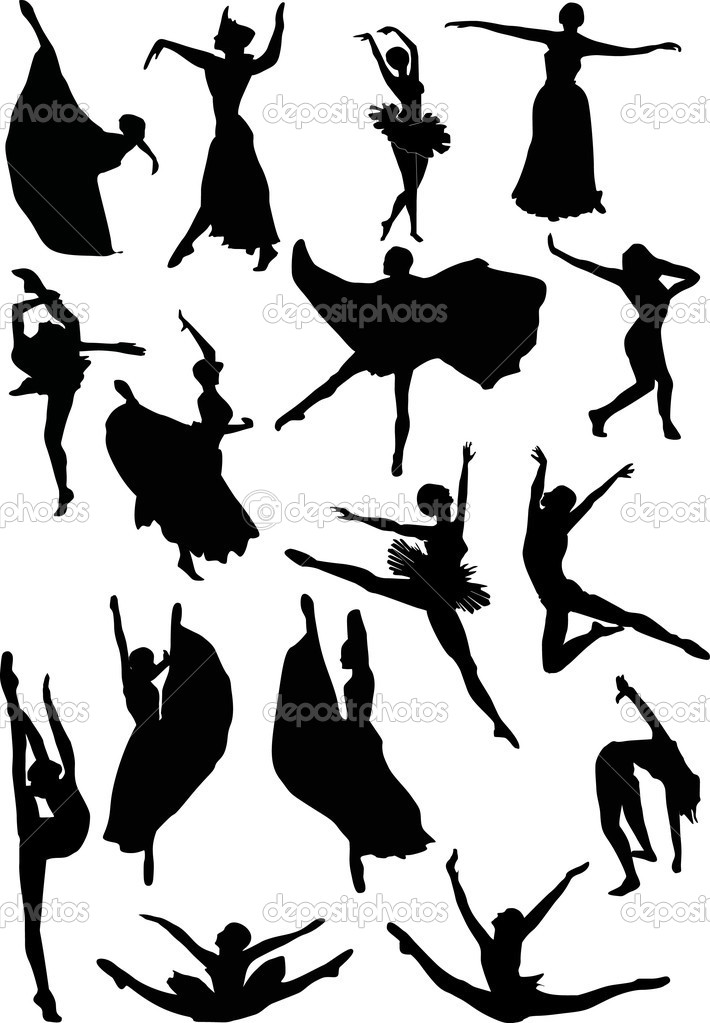 Illustration with ballet dancer silhouettes — Stock Vector #1838865