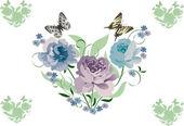 Mavi çiçekler kalp — Stok Vektör