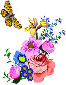 Illustration with butterfly and flowers — Stock Vector