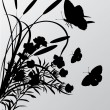 Cattail and butterflies silhouettes — Stock Vector #1870786