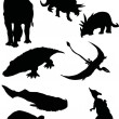 Stock Vector: Silhouettes of dinosaurs