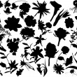 Thirty four flower silhouettes — Stock Vector