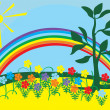 Stock Vector: Sun, rainbow and flowers