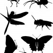 Fly and other insect silhouettes — Stock Vector