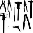 Stock Vector: Mechanical tools silhouettes