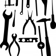 Stock Vector: Tools silhouettes set