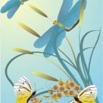 Butterflies, dragonflies and flowers — Stock Vector #1915666