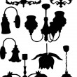 Chandelier silhouettes — Stock Vector