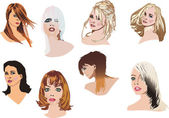 Heads with modern hairstyles — Cтоковый вектор