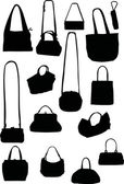 Handbag silhouettes — Stock Vector