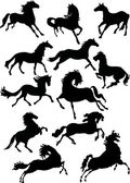 Twelve horse silhouettes — Stock Vector