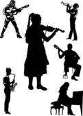 Musicians isolated on white — Stock Vector