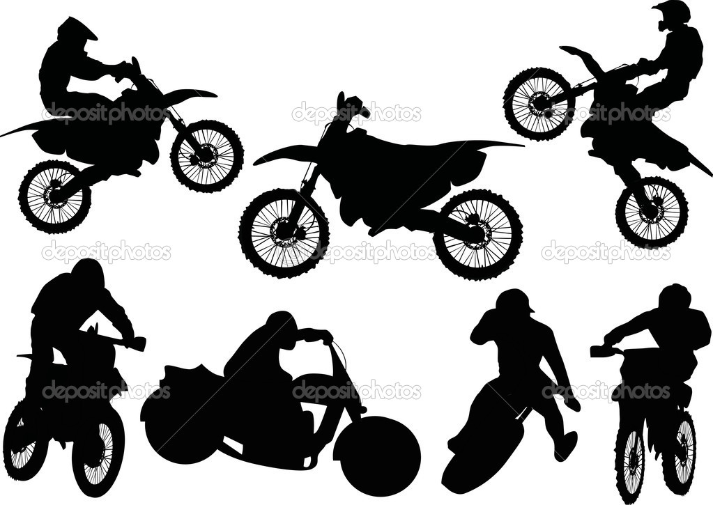 Motorcycle Racing Silhouette Illustration with silhouettes
