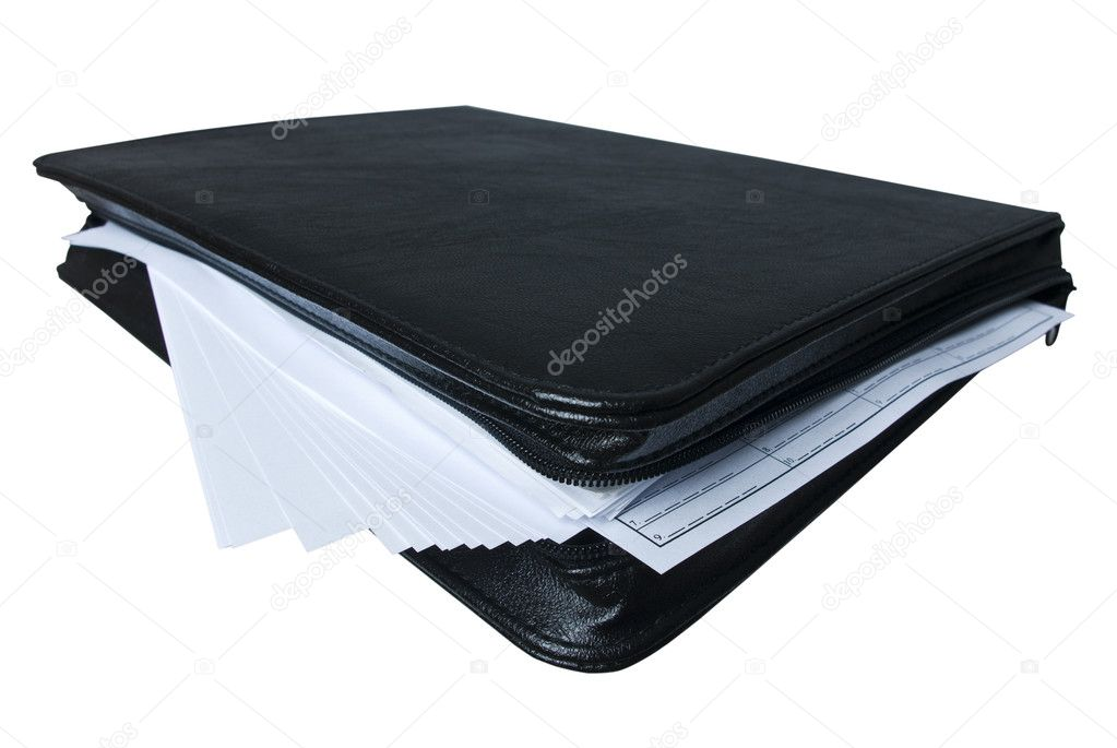 Black briefcase with a lot of paper — Stock Photo #1689157